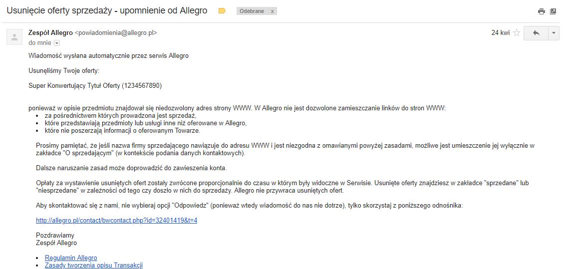 Usunięcie aukcji oferty Allegro